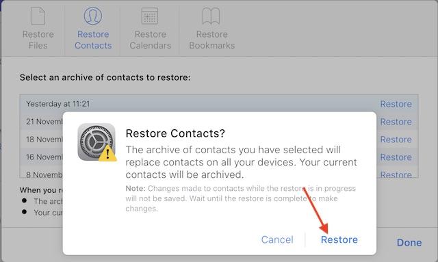 Restaurar archivos de iCloud