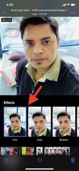 Elija el efecto de foto en vivo