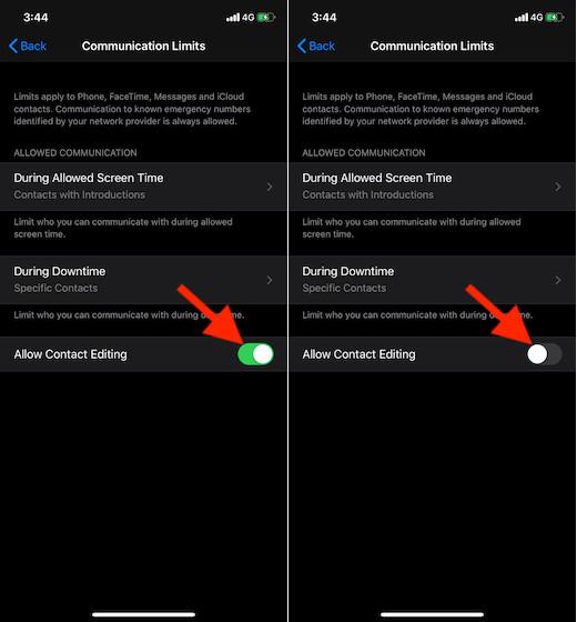 No permitir la edición de contactos