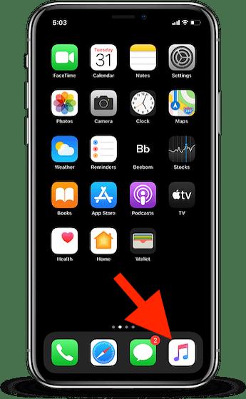 1. Inicie la aplicación Música en su iPhone o iPad.