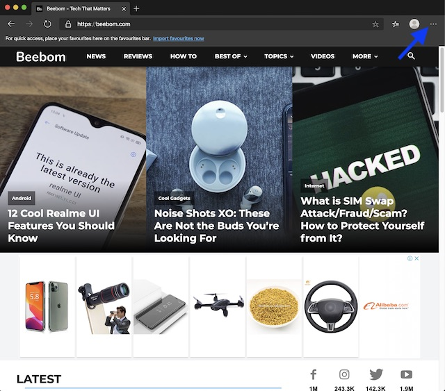 Κάντε κλικ στις τρεις τελείες στο πρόγραμμα περιήγησης ιστού Chrome