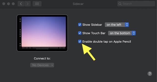 Habilitar: deshabilite el doble toque en el Apple Pencil (segunda generación)