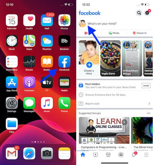 Abra Facebook en su dispositivo