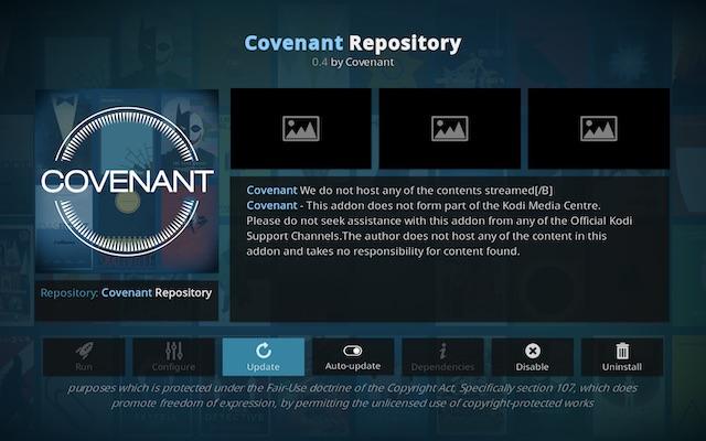 Convenant Kodi дополнение