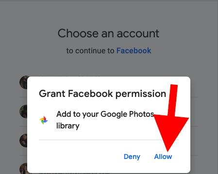Предоставить разрешение Facebook