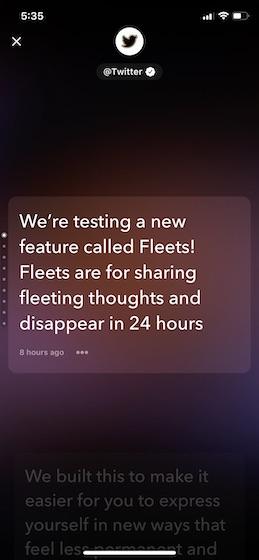 Пользовательский интерфейс Twitter Fleets