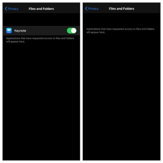 Administrar el acceso de la aplicación Archivos a las aplicaciones