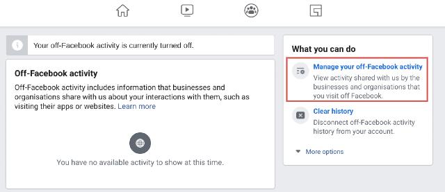 Удалите ваши действия вне Facebook