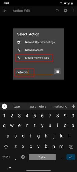 Измените предпочтительный тип сети с помощью Tasker