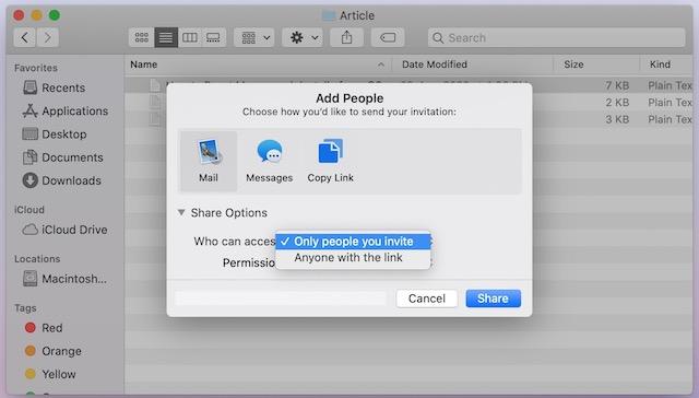 5. Comparta archivos usando iCloud File Sharing en Mac