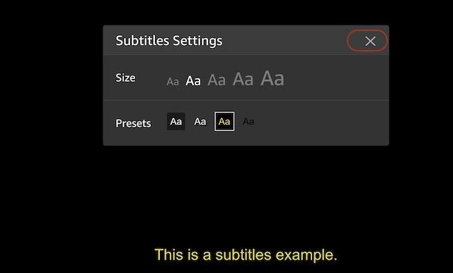 4. Базовые настройки субтитров на Amazon Prime Video