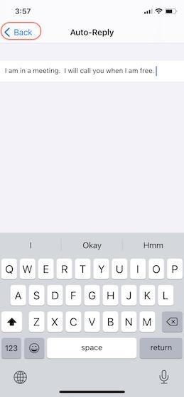 4. Установите на iPhone сообщение с автоматическим ответом