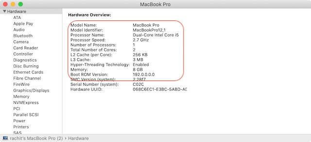 Проверьте конфигурацию процессора Mac 4