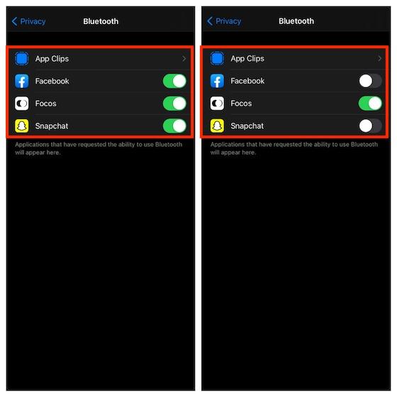 Administrar el acceso de aplicaciones a Bluetooth en iOS y iPadOS