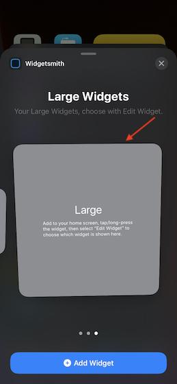 Выберите размер виджета и добавьте его на главный экран