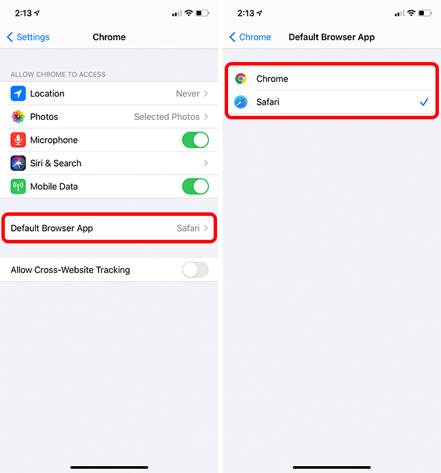 set chrome as default browser iphone ios 14