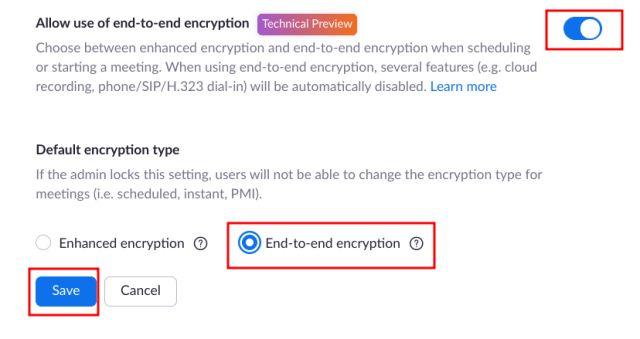 Включить сквозное шифрование при Zoom (для частных лиц)