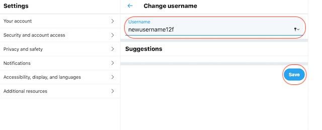 Изменение имени пользователя Twitter с помощью веб-браузера 5