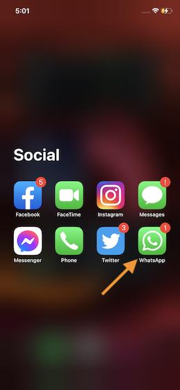 Откройте WhatsApp на своем устройстве
