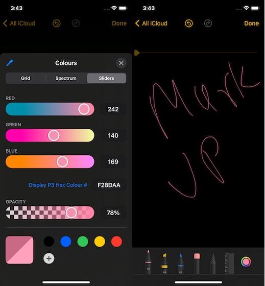 использование инструментов цвета разметки в приложении Notes