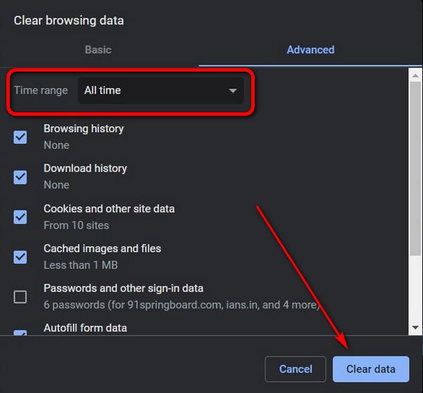 Очистить данные просмотров в Chrome с помощью сочетания клавиш