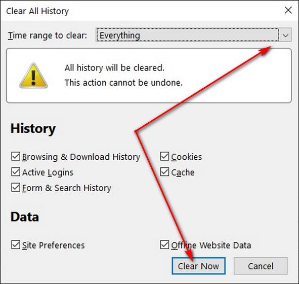 Очистить данные просмотров в Firefox с помощью сочетания клавиш