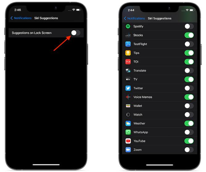 Отключить предложения Siri на экране блокировки