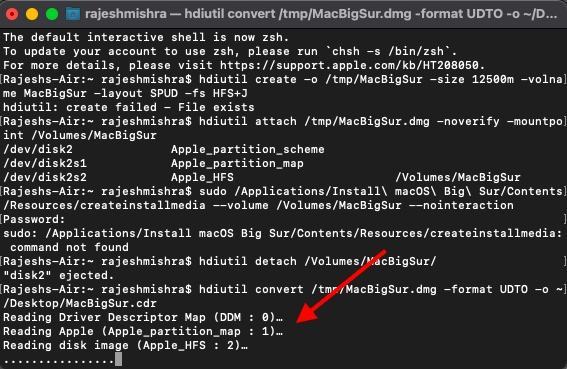 Stellen Sie sicher, dass Sie die neu erstellte macOS Insaller-Image-Datei in eine ISO: CDR-Datei konvertieren