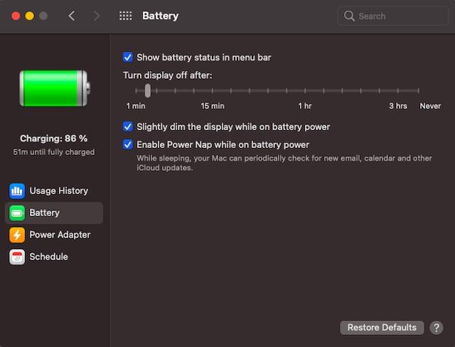 Новые настройки батареи в macOS Big Sur