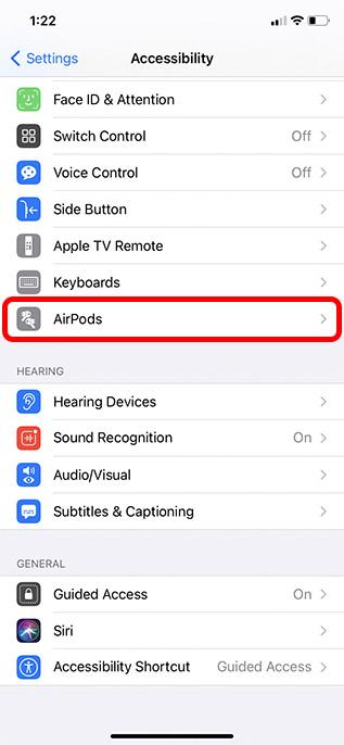 настройки специальных возможностей airpods