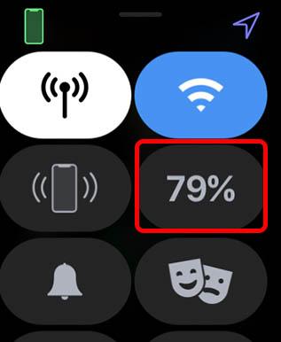 нажмите на процент заряда батареи в центре управления