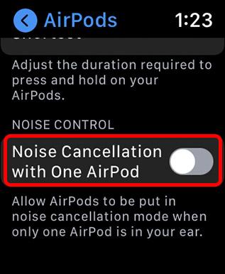 включить шумоподавление с помощью одинарных часов Apple Airpod