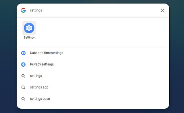 открыть настройки Chromebook