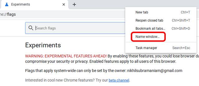 щелкните правой кнопкой мыши окно Chrome, чтобы переименовать окно в Chromebook