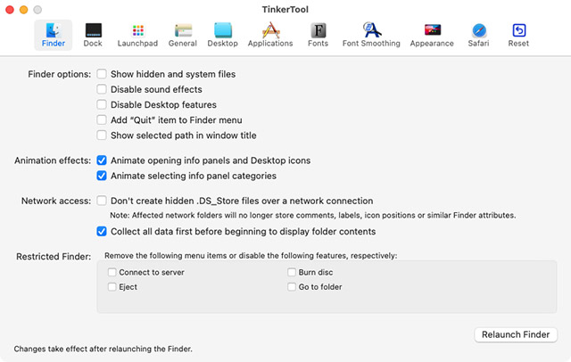 configuración oculta del buscador de herramientas