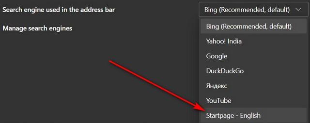 Изменить поисковую систему по умолчанию в Microsoft Edge