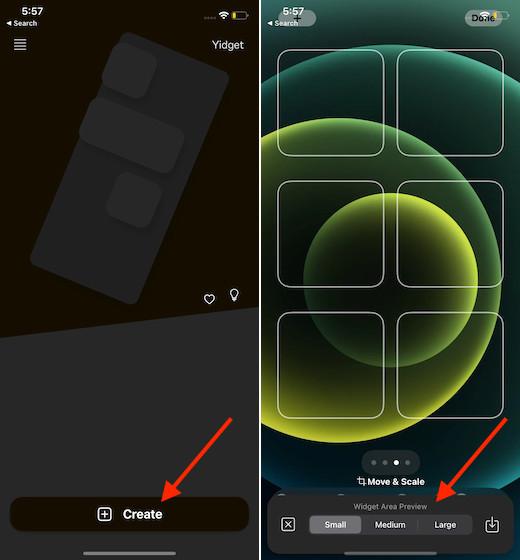 Настройте домашний экран iphone с помощью Yidget на iPhone