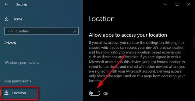 Отключить отслеживание местоположения в Windows 10