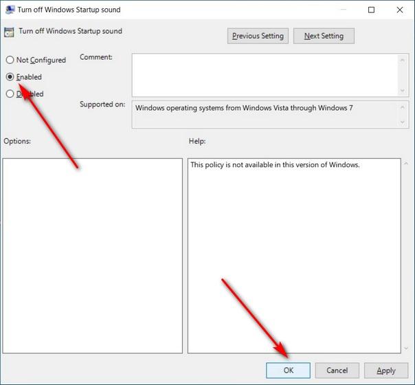 Включить звук при запуске в Windows 10