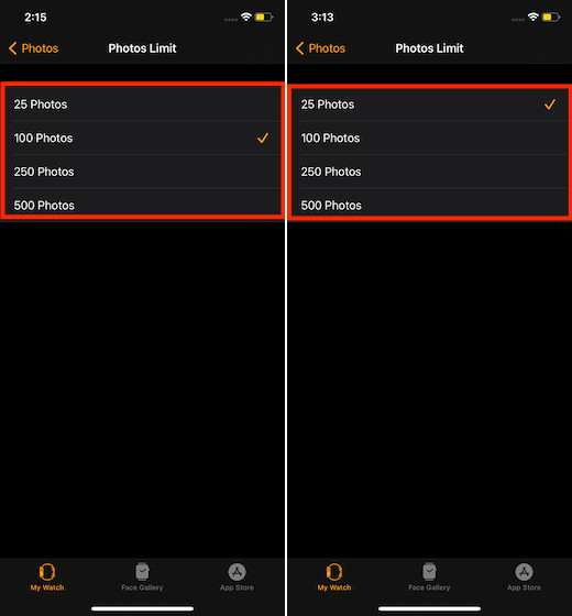 Управление хранилищем фотографий на Apple Watch