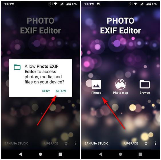 Удалить данные EXIF Android