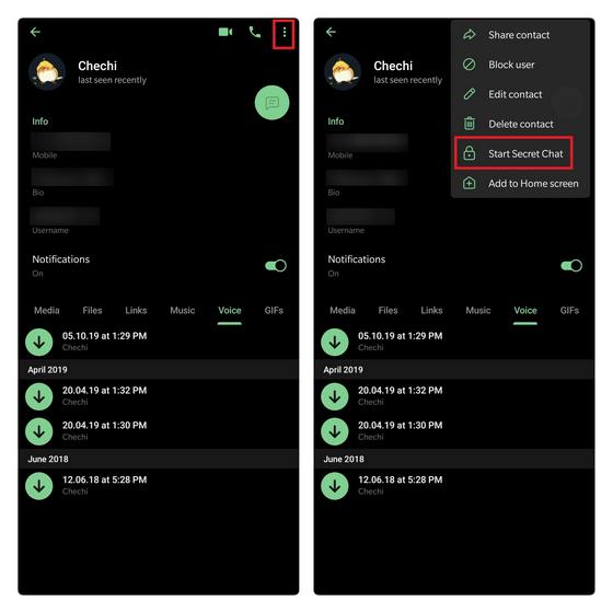 crear telegrama de chat secreto