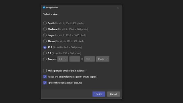 пользовательский интерфейс изменения размера изображения