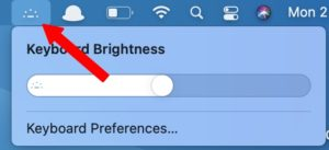 панель меню переключения яркости клавиатуры