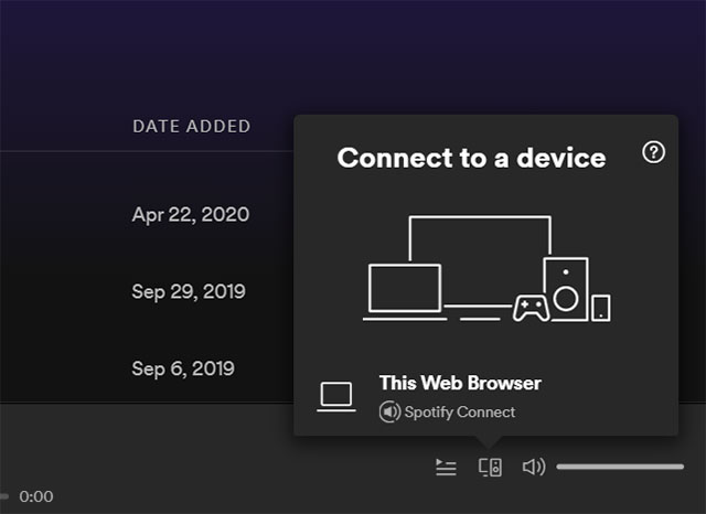 Spotify устройства в веб-плеере