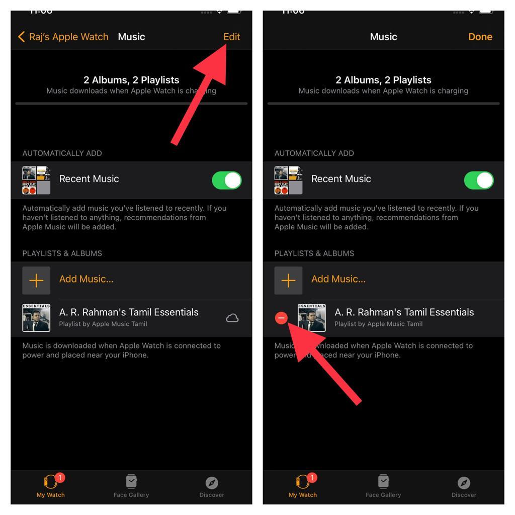 Eliminar música en Apple Watch