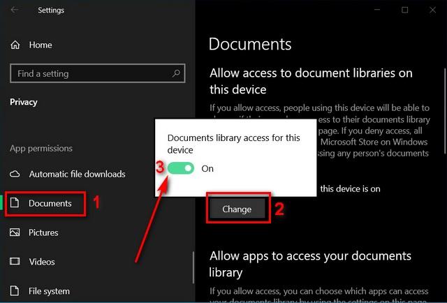 Включение или отключение доступа к файловой системе для приложений в Windows 10