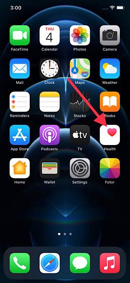 Aplicación de salud abierta en iPhone
