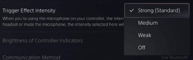 отрегулируйте интенсивность адаптивного запуска контроллера ps5 dualsense