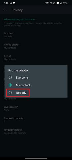 изменить конфиденциальность pfp WhatsApp